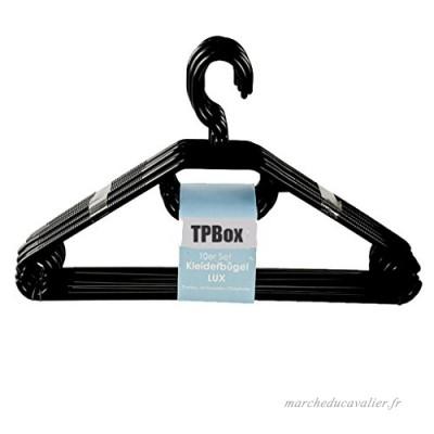 tpbox Lot de cintres en noir   Extra Lourd Parure Anse en Plastique – Fabriqué en UE (20) - B074JBRKGR