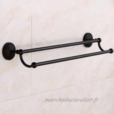 SMQ Porte-Serviettes pour Salle de Bain Double Tige Porte-Serviettes en cuivre Noir Antique de Style Européen Salle de Bain en Métal - B07FLSNNFR