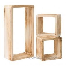 Ensemble de 3 Etagères étagère étagères pendaison de bois naturel clare cube design clair (Cod. 0-1467) - B018E4A2D8