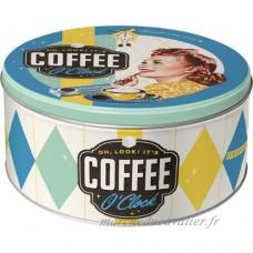 Nostalgic-Art 30606Say It 50's Coffee O' Clock  boîte de conservation ronde L  21cm de diamètre - B01L6ZJHH4