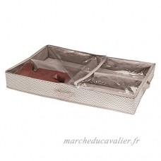mDesign housse de dessous de lit pour chaussures – range-chaussures avec 12 sections de rangement – accessoire de rangement pour chaussures – avec couvercle transparent et fermeture  couleur : taupe - B074KM1XKK