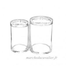 Doitsa 1PCS Boîte à cosmétiques Boîte de rangement en coton acrylique cristal Boîte de rangement en coton-tige Transparent - B07B2TJW9X