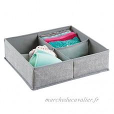 Tiroir de commode mDesign en tissu. Convient aux sous-vêtements  chaussettes  soutiens-gorge  collants  jambières - 4 compartiments  Gris - B01BB0QNZ8
