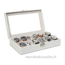 Relaxdays Boîte à montres présentoir à bijoux coffret pour 12 montres avec oreillers velours HxlxP: 7 5 x 33 5 x 20 5 cm  blanc - B077BB13SP