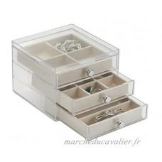 Rangement mDesign pour bijoux  bagues  boucles d'oreilles  bracelets  colliers - Ivoire / Transparent - B0160CLK96