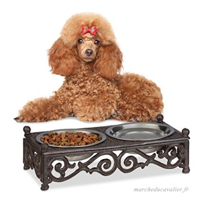 Relaxdays Gamelle Chiens Style Antique Double écuelle Antiquités Fonte Fer forgé 2X Bols 250 ML  Marron - B07CT8BNWM