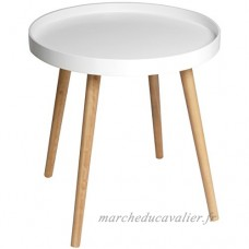 Promobo Table en Bois Collection Scandinave Plateau Forme Ronde Blanc - B0746FDQHB