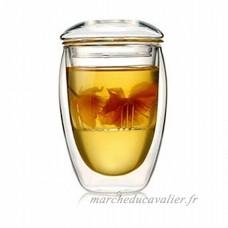 VIOY Tasse en Verre Double Couverte avec Filtre Tasse à Thé Transparent Taille Unique - B07F9J5CB2