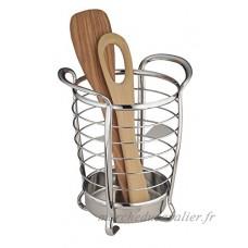 mDesign porte-ustensiles de cuisine en acier inoxydable – idéal comme support à couverts ou accessoires de cuisine – meilleure organisation de la cuisine – avec poignées pour le transport facile - B01IDL6LX2