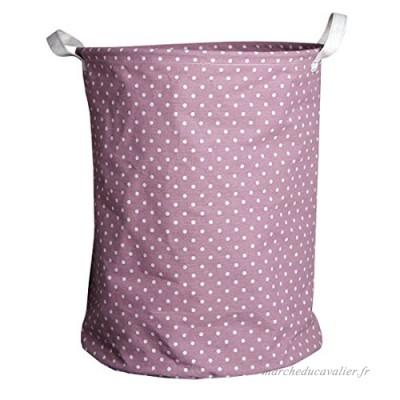 Andux Paniers à linge pliables Linge De Coton Organisateur de Jouets Stockage (Violet Dot) ZYL-01 - B01N3XIWP7