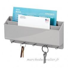 mDesign porte courrier mural et porte clé mural – porte lettres innovant (2 compartiments) pour votre courrier et vos clefs – porte lettre et clef pratique pour l'entrée ou la cuisine – gris - B074KHDQQT
