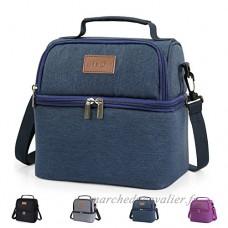 Lifewit Sac Isotherme Sac de Repas pour Hommes Femmes Enfants  Lunch Bag pour Travail Ecole Pique-nique  2 Compartiments  Bleu - B072V3KFWM