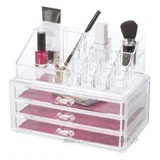 Glitz et Glamour 80810Deluxe Organiseur à maquillage en acrylique avec tiroirs  Transparent - B00ZD5FD8Q