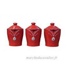 Lot de 3 rangements rouges pour le thé  café  sucre avec éléments en strass scintillants - B01MQWWWYW