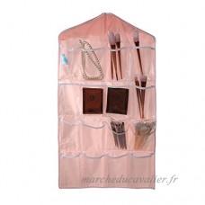 JIM'S STORE 16 Poches Garde-Robe Chaussettes/Chaussures/Bijoux/Soutien-Gorge/sous-Vêtements Suspendus Poches de Rangement Sacs Organisateur (Rose) - B01N3154IA