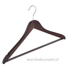 10 x Cintre blouse / chemise laqué wengé légèrement galbé avec barre (anti-dérapant) ronde avec encoches  43 cm - LE GÉANT DU CINTRE - B01ITLNGCK