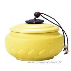 Pot de thé en céramique Pot de café portable Sac de thé scellé  Lotus jaune - B076Q81DR4