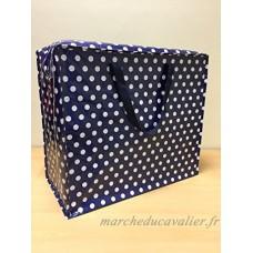 Bleu marine Polka Dot rétro grands sacs à linge Sac de rangement Jumbo J2N - B079GTTR6Y