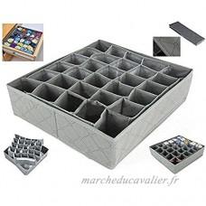 Organiseur de tiroir Fablcrew séparateurs organiseurs d'armoire sous-vêtements chaussettes cravate boîtes de rangement gris - B075BCDYB8