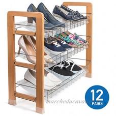 Tatkraft FIRM | Porte chaussures avec 3 étages en bois et acier chromé | Range chaussures idéal pour salon  couloir | Étagère à chaussures facile à nettoyer avec inserts | Dimensions : 73x27x60 cm - B0777F7M11