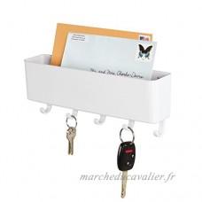 mDesign porte-courrier mural et porte clé mural – pour le rangement de vos clefs  lettres et brochures – porte lettre pour l'entrée – en plastique – blanc - B019IZH4BK